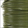 1.9mm round Greek leather dyed OLIVE GREEN - per 50m SPOOL