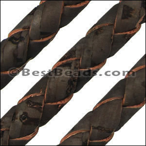 10mm round BRAIDED CORK DARK BROWN - per 2 meters