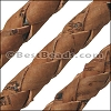 6mm round BRAIDED CORK SADDLE BROWN - meter