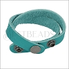 Leather DOUBLE STRAP wrap bracelet TEAL