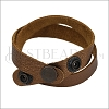 Leather DOUBLE STRAP wrap bracelet METALLIC ANTIQUE COPPER