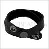 Leather DOUBLE STRAP wrap bracelet BLACK