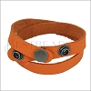 Leather DOUBLE STRAP wrap bracelet CREAMSICLE