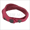 Leather DOUBLE STRAP wrap bracelet FUCHSIA