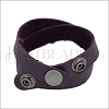 Leather DOUBLE STRAP wrap bracelet PURPLE