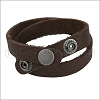 Leather DOUBLE STRAP wrap bracelet COCOA