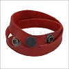 Leather DOUBLE STRAP wrap bracelet RED