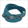 Leather DOUBLE STRAP wrap bracelet DARK TURQUOISE