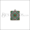 15mm RED/GREEN TILE Charm 2 - 10 pcs
