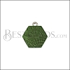 10mm GREEN HEXAGON Printed Charm - 10 pcs