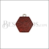 10mm TERRACOTTA HEXAGON Printed Charm - 10 pcs