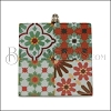 40mm RED/GREEN MULTI TILE Printed Pendant - 2 pcs