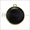 19mm Round Charm GOLD EPOXY - Black - 2 pcs