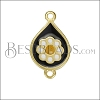 Boho Flower Connector Charm GOLD EPOXY - Black Mix - 2 pcs