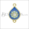 Boho Flower Connector Charm GOLD EPOXY - Blue Mix - 2 pcs