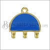 4 - Loop Half - Circle Connector Charm GOLD EPOXY - Blue - 2 pcs