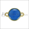12mm Round Connector Charm GOLD EPOXY - Blue - 2 pcs