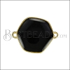 Hexagon Connector Charm GOLD EPOXY - Black - 2 pcs