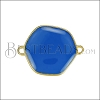 Hexagon Connector Charm GOLD EPOXY - Blue - 2 pcs
