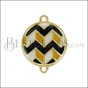 Round ZigZag Connector Charm GOLD EPOXY - Black Mix - 2 pcs