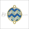 Round ZigZag Connector Charm GOLD EPOXY - Blue Mix - 2 pcs