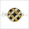 18mm Spanish Tile Connector Charm GOLD EPOXY - Black Mix - 2 pcs