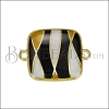 18mm Abstract Square Connector Charm GOLD EPOXY - Black Mix - 2 pcs