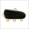 4 - Loop Oblong Connector Pendant GOLD EPOXY - Black - 2 pcs