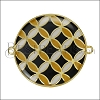 30mm Spanish Tile Connector Pendant GOLD EPOXY - Black Mix - 2 pcs