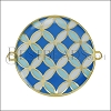 30mm Spanish Tile Connector Pendant GOLD EPOXY - Blue Mix - 2 pcs