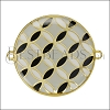 30mm Spanish Tile Connector Pendant GOLD EPOXY - Grey Mix - 2 pcs