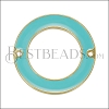 27mm Ring Connector Pendant GOLD EPOXY - Aqua - 2 pcs