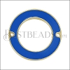 27mm Ring Connector Pendant GOLD EPOXY - Blue - 2 pcs