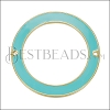 39mm Ring Connector Pendant GOLD EPOXY - Aqua - 2 pcs