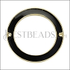39mm Ring Connector Pendant GOLD EPOXY - Black - 2 pcs