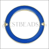 39mm Ring Connector Pendant GOLD EPOXY - Blue - 2 pcs