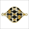 30mm Curvy Tile Connector Pendant GOLD EPOXY - Black Mix - 2 pcs