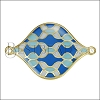 30mm Curvy Tile Connector Pendant GOLD EPOXY - Blue Mix - 2 pcs