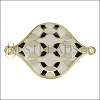 30mm Curvy Tile Connector Pendant GOLD EPOXY - Grey Mix - 2 pcs