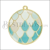 Mermaid Scale Pendant GOLD EPOXY - Pale Sky Mix - per 2 pieces