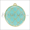 Mermaid Scale Pendant GOLD EPOXY - Turquoise - per 2 pieces