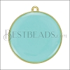 30mm Round Pendant GOLD EPOXY - Aqua - per 2 pieces