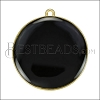 30mm Round Pendant GOLD EPOXY - Black - per 2 pieces