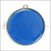 30mm Round Pendant GOLD EPOXY - Blue - per 2 pieces