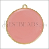 30mm Round Pendant GOLD EPOXY - Coral - per 2 pieces