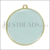30mm Round Pendant GOLD EPOXY - Pale Jade - per 2 pieces
