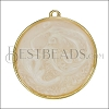 30mm Round Pendant GOLD EPOXY - Pink Pearl - per 2 pieces