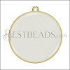30mm Round Pendant GOLD EPOXY - White - per 2 pieces