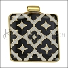 Square Pattern Pendant GOLD EPOXY - Black - per 1 piece