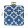 Square Pattern Pendant GOLD EPOXY - Blue - per 1 piece